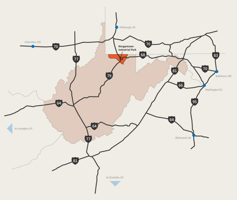 Map of interstates around Morgantown Industrial Park